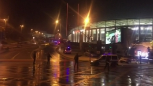 Ambulances rush to the scene outside Besiktas football stadium in Istanbul