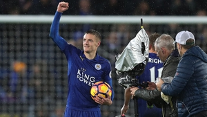 Jamie Vardy with the match ball after Leicester's 4-2 win against Manchester City