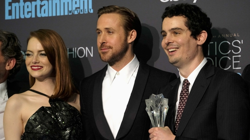 La La Land stars Emma Stone and Ryan Gosling with director Damien Chazelle