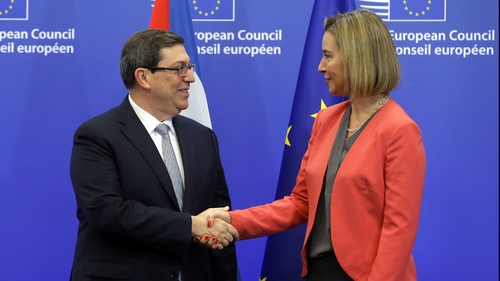 Cuban Foreign Minister Bruno Rodriguez Parrilla and EU foreign affairs chief Federica Mogherini