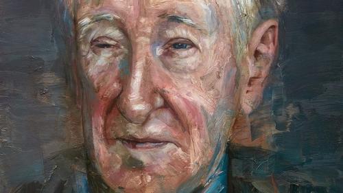 Detail from artist Colm Davidson's portrait of John Montague