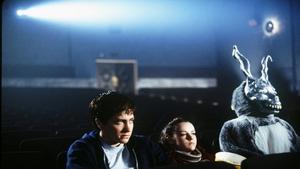 Jake Gyllenhaal, Jena Malone and Frank The Rabbit in Richard Kelly's Donnie Darko
