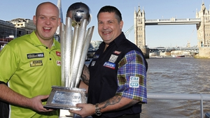 Michael van Gerwen (l) says only Gary Anderson (r) or Phil Taylor can stop him (pic: Lawrence Lustig/PDC)