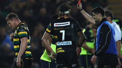 Dylan Hartley sees red against Leinster
