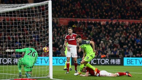 Adam Lallana scores Liverpool's first goal at the Riverside