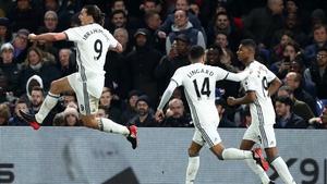 Zlatan Ibrahimovic celebrates his winner at Selhurst Park