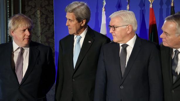 John Kerry (2ndL), Boris Johnson (L), Frank-Walter Steinmeier (2ndR) and Jean Marc Ayrault