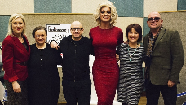 The Pantisocracy Christmas Special line-up, from left to right - artist Amanda Coogan, singer and director of ITMA Grace Toland, filmmaker Lenny Abrahamson, Queen Of Ireland Panti Bliss, Sean-Nós singer Róisín Elsafty and performer Gavin Friday.