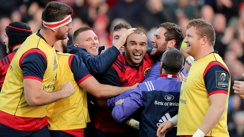 Zebo celebrates his try against Leicester last week with team-mates