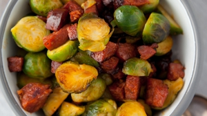 Try Kevin Dundon's Brussels Sprouts with cranberries, caramelised chorizo & bread this Christmas!