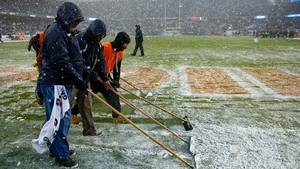 Snow is pushed off the field during the game between the Chicago Bears and the San Francisco 49ers at Soldier Field at the start of the month