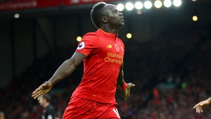 Mane celebrates one of his goals for Liverpool last season