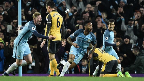 Man City rallies for 2-1 win over Arsenal in Premier League