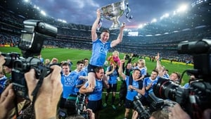 Philly McMahon is lifted by his team mates as he brings Sam Maguire to Hill 16 after last year's All-Ireland win