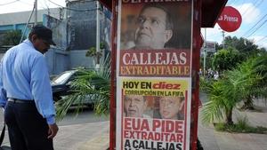 Newspaper posters in Honduras showing pictures of Rafael Callejas