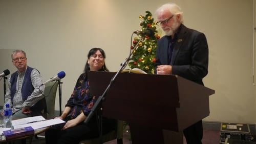 Pictured: Poet and musician Cahal Dallat, poet Siobhán Campbell and actor Donal Cox taking part in a recording of the RTÉPoetry Programme in London, to be broadcast at 7 pm on Christmas Eve.
