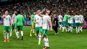 Shane Long celebrates Ireland's famous Euro 2016 win over Italy