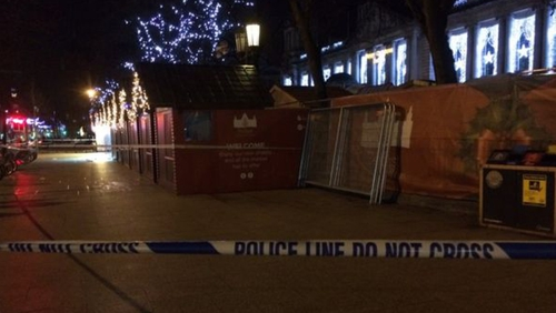 The crowded market in the grounds of City Hall was cleared last night (Pic: BBC)