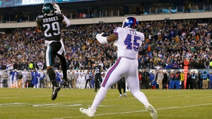 Philadelphia Eagles' Terrence Brooks intercepts a ball intended for tight end Will Tye of the New York Giants