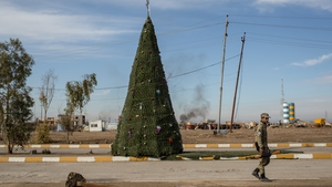 A Christmas tree was erected on the main road in Mosul, Iraq