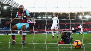 Andre Ayew opens the scoring for West Ham at Swansea
