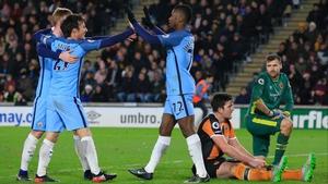 Manchester City striker Kelechi Iheanacho celebrates his strike against Hull