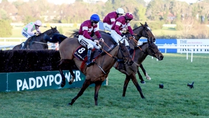 Outlander (near) and Don Poli clear the last in the Lexus Chase at Leopardstown