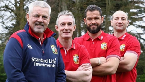 Warren Gatland, head coach, Rob Howley, backs coach, Andy Farrell, defence coach and Steve Borthwick the forwards coach during the Lions coaching team announcement