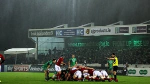 Connacht v Munster was played in wind and driving rain at the Sportsground