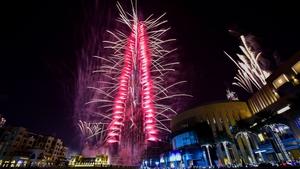 Fireworks explode from the Burj Khalifa, the world's tallest tower, in Dubai