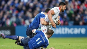 Ulster try-scorer Charles Piutau is tackled by Noel Reid and Rory O'Loughlin