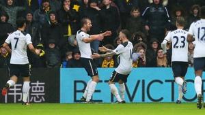 Harry Kane celebrates his opening goal