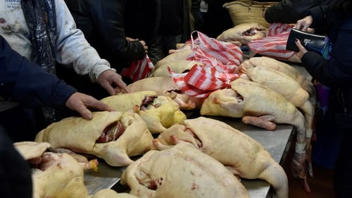 Duck carcasses at a market in southern France