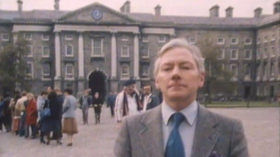 Gay Byrne in Trinity College in 1982