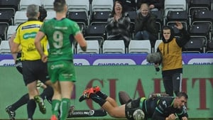Ashley Beck scores the Ospreys' fourth try and secures the bonus point