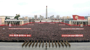 Thousands of North Koreans rally to show their support for Kim Jong Un