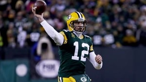 Aaron Rodgers of the Green Bay Packers throws a pass in the fourth quarter