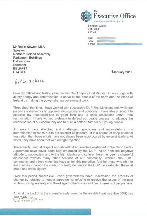 McGuinness resignation letter