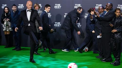 Gianni Infantino at yesterday's FIFA Football Awards ceremony