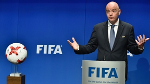 FIFA President Gianni Infantino at today's announcement of an expanded World Cup