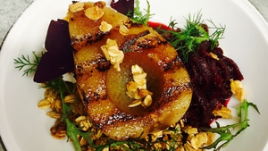 Kevin Ahearne's Poached apple, candy oats, goats cheese & beetroot relish