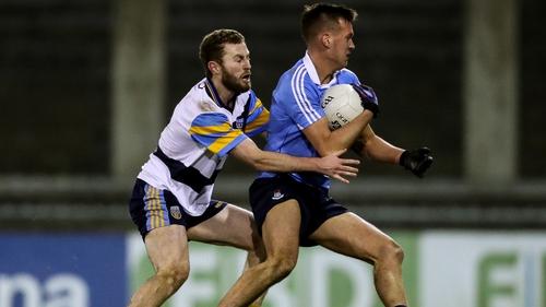 Jack McCaffrey battles for possession with Dublin's Ryan Deegan