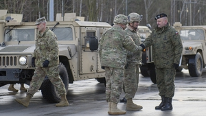 US soldiers pictured during a welcome ceremony at the Polish-German border in Olszyna, Poland