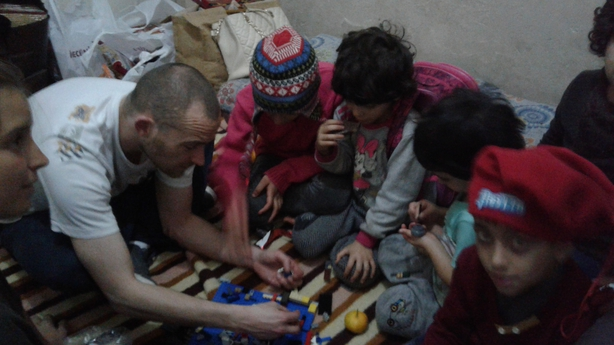 Family of five living on the street in Izmir, Turkey