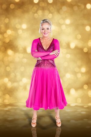Dancing with the Stars: Dr Eva Orsmond - pretty in pink. The original promo image of Dr Eva and its easy to see why she chose that dress.