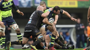 Robbie Henshaw is tackled during the clash in France between the sides in October