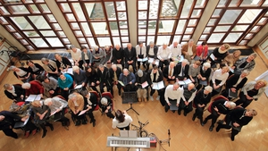 The Past Times Community Choir, performing at today's Place Matter event in Dublin Castle.