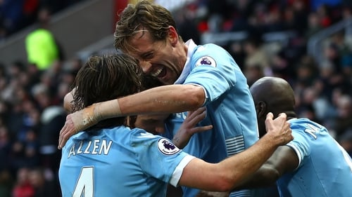 Peter Crouch celebrates scoring his 50th goal for Stoke City