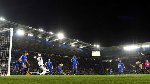 Marcos Alonso scores the opening goal at the King Power Stadium