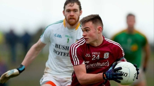 Leitrim goalkeeper Phillip Farrelly  bears down on Galway's Cillian McDaid